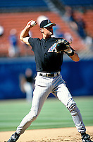 Andy Fox of the Arizona Diamondbacks participates in a Major League Baseball game at Dodger Stadium during the 1998 season in Los Angeles, California. (Larry Goren/Four Seam Images)