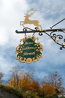 Oesterreich, Salzburger Land, Salzburg: Hotel Goldener Hirsch - Zunftschild | Austria, Salzburger Land, Salzburg: Hotel Goldener Hirsch - Hotel Golden Deer - guild sign