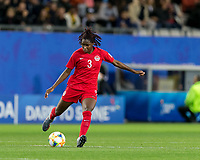 GRENOBLE, FRANCE - JUNE 15: Kadeisha Buchanan #3 of the Canadian National Team passes the ball during a game between New Zealand and Canada at Stade des Alpes on June 15, 2019 in Grenoble, France.