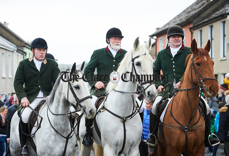 Members of the East Clare Hunt at the St Patrick's Day parade in Killaloe. Photograph by John Kelly.