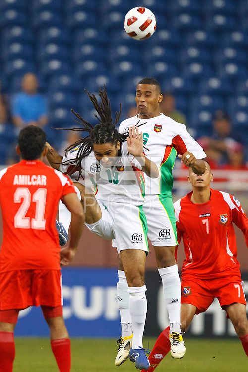 7 June 2011: Guadeloupe midfielder Stephane Auvray (18) and Guadeloupe midfielder David Fleurival (6) during the CONCACAF soccer match between Panama and Guadeloupe at Ford Field Detroit, Michigan.