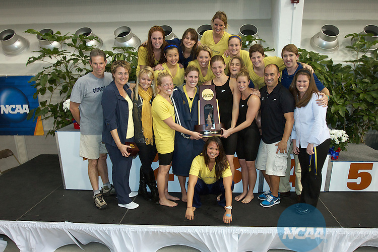 19 MAR 2011:  The University of California Berkley team celebrates with the team's national championship trophy after winning the Division I Women's Swimming and Diving Championship held at the Lee and Joe Jamail Texas Swimming Center on the University of Texas campus in Austin, TX.  Cal Berkeley scored 424 points to win the Division I Women's 2011 National Championship.  Rudy Gonzalez/ NCAA Photos