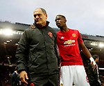 Paul Pogba of Manchester United talks with coach Silvino Louro during the UEFA Europa League Quarter Final 2nd Leg match at Old Trafford, Manchester. Picture date: April 20th, 2017. Pic credit should read: Matt McNulty/Sportimage