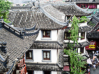 Old Town Shanghai.  Airal view of archtectural details