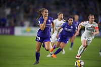 Orlando, FL - Saturday March 24, 2018: Orlando Pride forward Alex Morgan (13) takes off with the ball during a regular season National Women's Soccer League (NWSL) match between the Orlando Pride and the Utah Royals FC at Orlando City Stadium. The game ended in a 1-1 draw.