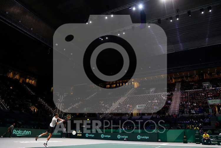 Vasek Pospisil of Canada {scene} against John Millman of Australia during Day 4 of the 2019 Davis Cup at La Caja Magica on November 21, 2019 in Madrid, Spain. (ALTERPHOTOS/Manu R.B.)
