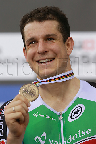 02.032016. Lee Valley Velo Centre, London England. UCI Track Cycling World Championships Men's scratch race Final.   IMHOF Claudio (SUI) with bronze