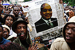 DURBAN - 8 May 2006 - Supporters of former South African deputy president Jacob Zuma converged outside Durban's city hall to celebrate his acquittal on charges of rape. He had been accused of raping a 31-year old HIV family friend..Picture: Giordano Stolley