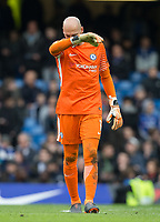 Goalkeeper Wilfredo Caballero of Chelsea during the Premier League match between Chelsea and Tottenham Hotspur at Stamford Bridge, London, England on 1 April 2018. Photo by Andy Rowland.