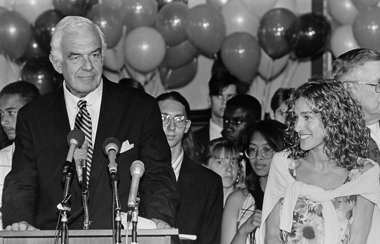 "Speaker of the House Rep. Thomas Stephen ""Tom"" Foley, D-Wash and actress Sarah Jessica Parker at the Congressional Arts Exhibit. (High School Art winners in background). April 1993 (Photo by Chris Martin/CQ Roll Call)"