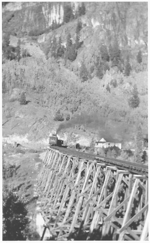 RGS #461 switching cars on trestle 45-A at Ophir.<br /> RGS  Ophir, CO