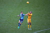 Dominic Gape of Wycombe Wanderers & Paul Bignot of Newport County during the Sky Bet League 2 match between Wycombe Wanderers and Newport County at Adams Park, High Wycombe, England on 2 January 2017. Photo by Andy Rowland.
