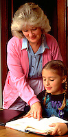 Mother age 35 tutoring 7 year old daughter.  St Paul Minnesota USA