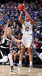 SIOUX FALLS, SD - MARCH 7:  Kerri Young #10 of South Dakota State takes a jump shot over defender Ellie Brecht #34 of Omaha in the 2016 Summit League Tournament. (Photo by Dave Eggen/Inertia)