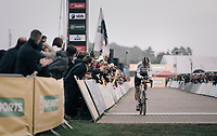 CX world champion Wout Van Aert (BEL/Crelan-Charles) crossing the finish line<br /> <br /> Super Prestige Ruddervoorde / Belgium 2017