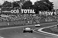 LE MANS, FRANCE: A pair of Group C prototypes are driven during the 24 Hours of Le Mans on June 20, 1982, at Circuit de la Sarthe in Le Mans, France.