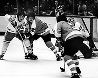 California Golden Seals vs Philadelphia Flyers 1975.<br />Flyer #8 Dave Schultz, and #5Larry Goodenough, #15 Jim Neilson, and golie Gary Simmons.<br />(photo/Ron Riesterer)