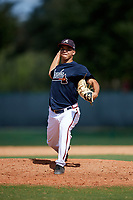 Atlanta Braves pitcher Troy Bacon (19) delivers a pitch during an Instructional League game against the Detroit Tigers on October 10, 2017 at the ESPN Wide World of Sports Complex in Orlando, Florida.  (Mike Janes/Four Seam Images)