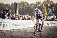 World Champion Wout Van Aert (BEL) ploughing through the sand. <br /> <br /> UEC CYCLO-CROSS EUROPEAN CHAMPIONSHIPS 2018<br /> 's-Hertogenbosch – The Netherlands<br /> Men Elite Race