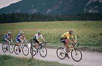 yellow jersey / GC leader Greg Van Avermaet (BEL/BMC) on the gravel section after the top of the Montée du plateau des Glières (HC/1390m)<br /> <br /> Stage 10: Annecy > Le Grand-Bornand (159km)<br /> <br /> 105th Tour de France 2018<br /> ©kramon