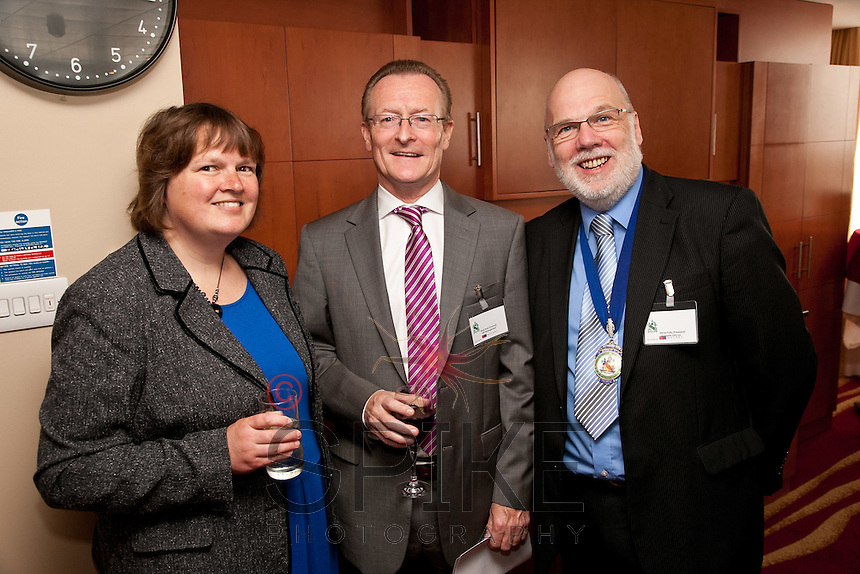 Guest speakerPam Wright, deputy agent for the bank of England is pictured with Mark Dyer (centre) of GET Management and Club President Steve Potts