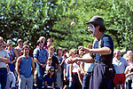 Mime performing at Seattle Center juggling white balls with white face and surprised look Seattle Washington State USA