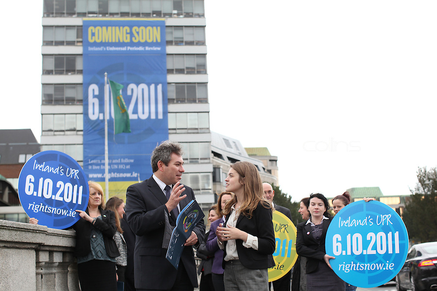 "NO REPRO FEE. 22/9/2011. Orla Tinsley Launches Rights Campaign's Big Banner on Dublin's Liberty Hall. L-R Mark Kelly ICCL and Author, journalist and health rights campaigner Orla Tinsley joins rights campaigners to launch the ""Your Rights Right Now"" campaign's flagship 25 metre-high banner, which was unfurled on Dublin's Liberty Hall. The appearance of the banner, which will dominate the Liffey skyline for the next fortnight, marks the final countdown to Ireland's first ever full hearing on its human rights record under the United Nations 'Universal Periodic Review' (UPR) in Geneva on 6th October 2011. For further information, see the note below, and/or contact: Walter Jayawardene walter.jayawardene@iccl.ie. Tel. + 353 1 799 4503 Mob: +353 87 9981574 . Picture James Horan/Collins Photos"