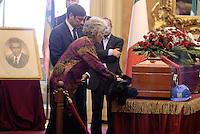 Roma, 29 Settembre 2015<br /> Camera ardente a Montecitorio per Pietro Ingrao.<br /> Gli operai delle Acciaierie di Terni posano accanto alla bara caschetti e giacca.<br /> La sorella