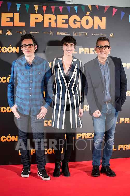 """Berto Romero, Belen Cuesta and Andreu Buenafuente during the presentation of the film """"El Pregón"""" in Madrid, March 15, 2016<br /> (ALTERPHOTOS/BorjaB.Hojas)"""