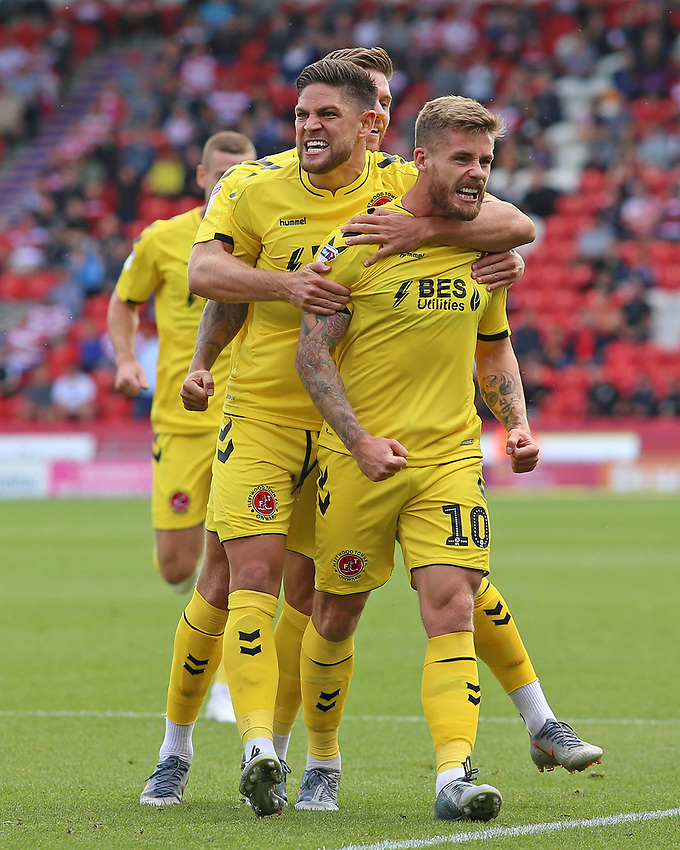 Fleetwood Town's Conor McAleny celebrates scoring the opening goal<br /> <br /> Photographer David Shipman/CameraSport<br /> <br /> The EFL Sky Bet League One - Doncaster Rovers v Fleetwood Town - Saturday 17th August 2019  - Keepmoat Stadium - Doncaster<br /> <br /> World Copyright © 2019 CameraSport. All rights reserved. 43 Linden Ave. Countesthorpe. Leicester. England. LE8 5PG - Tel: +44 (0) 116 277 4147 - admin@camerasport.com - www.camerasport.com
