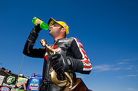 Jul. 27, 2014; Sonoma, CA, USA; NHRA pro stock motorcycle rider Eddie Krawiec celebrates after winning the Sonoma Nationals at Sonoma Raceway. Mandatory Credit: Mark J. Rebilas-
