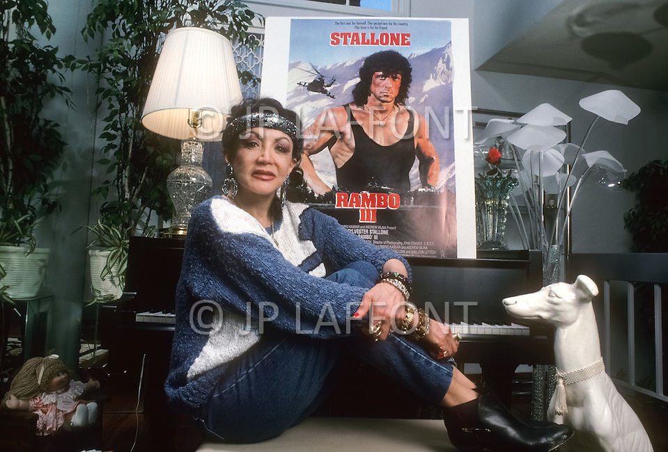 Santa Monica, U.S.A, 1987. Jackie Stallone, the mother of Sylvester Stallone.