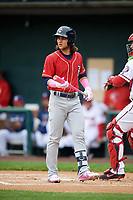 New Hampshire Fisher Cats shortstop Bo Bichette (5) at bat during the first game of a doubleheader against the Harrisburg Senators on May 13, 2018 at FNB Field in Harrisburg, Pennsylvania.  Harrisburg defeated New Hampshire 2-1.  (Mike Janes/Four Seam Images)