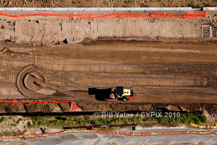 Road grading Beach Blvd Jacksonville Beach Florida helicopter aerial