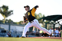 Bradenton Marauders pitcher Jeff Locke (43), on rehab assignment from the Pittsburgh Pirates, delivers a pitch during a game against the Palm Beach Cardinals on April 9, 2014 at McKechnie Field in Bradenton, Florida.  Palm Beach defeated Bradenton 3-1.  (Mike Janes/Four Seam Images)
