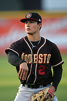 April 14, 2010: Thomas Field of the Modesto Nuts before game against the Rancho Cucamonga Quakes at The Epicenter in Rancho Cucamonga,CA.  Photo by Larry Goren/Four Seam Images
