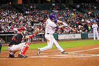 LSU Tigers shortstop Alex Bregman (8) swings the bat during the NCAA baseball game against the Houston Cougars on March 6, 2015 at Minute Maid Park in Houston, Texas. LSU defeated Houston 4-2. (Andrew Woolley/Four Seam Images)
