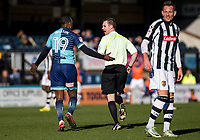 Myles Weston of Wycombe Wanderers with Referee Ross Joyce during the Sky Bet League 2 match between Wycombe Wanderers and Notts County at Adams Park, High Wycombe, England on the 25th March 2017. Photo by Liam McAvoy.