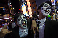 Halloween celebrations Shibuya, Tokyo, Japan. Saturday October 27th 2018. The celebrations marking this event have grown in popularity in Japan recently. Enjoyed mostly by young adults who like to dress up, drink , dance and misbehave in parts of Tokyo like Shibuya and Roppongi. There has been a push back from Japanese society and the police to try to limit the bad behaviour.