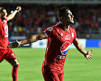 CALI - COLOMBIA, 31-01-2019: Carlos Sierra del América de Cali celebra después de anotar el tercer gol de su equipo partido por la fecha 2 de la Liga Águila II 2018 entre América de Cali y Deportes Tolima jugado en el estadio Pascual Guerrero de la ciudad de Cali. / Carlos Sierra of America de Cali celebrates after scoring the third goal of his team during match for the date 2 of the Aguila League II 2018 between America Cali and Deportes Tolima played at Pascual Guerrero stadium in Cali. Photo: VizzorImage / Nelson Rios / Cont