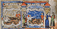 "Amnon tricks Tamar to lie in bed with him. Amnon's love for Tamar turns to hatred and he forces her to leave in humiliation. (2 Samuel 13 1-29). Excerpt of the first edition of the ""Crusader Bible"", 13th century manuscript kept in the Pierpont Morgan Library in New York, on natural parchment made of animal skin published by Scriptorium SL in Valencia, Spain. © Scriptorium / Manuel Cohen"