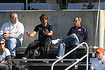 04 November 2009: Los Angeles Sol head coach Abner Rogers (center) and Washington Freedom head coach Jim Gabarra (right) scout the game. The Florida State University Seminoles defeated the Duke University Blue Devils 2-0 at Koka Booth Stadium in WakeMed Soccer Park in Cary, North Carolina in an Atlantic Coast Conference Women's Soccer Tournament Quarterfinal game.