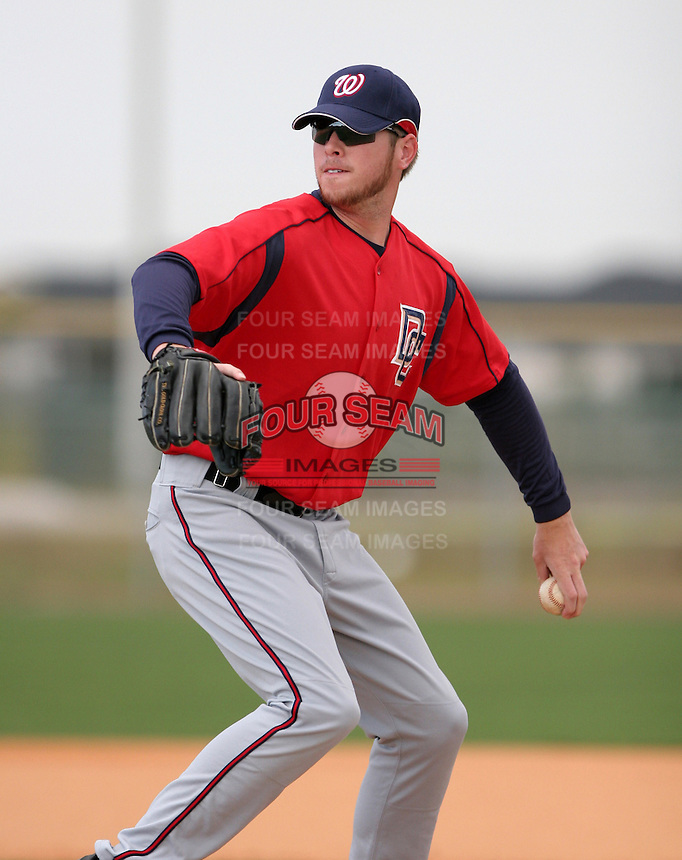Washington Nationals minor leaguer Justin Jones during Spring Training at the Carl Barger Training Complex on March 19, 2007 in Melbourne, Florida.  (Mike Janes/Four Seam Images)