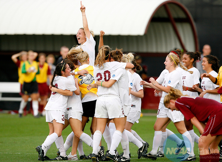 2007 Dec 09: The USC Women's Soccer team celebrates after defeating Florida State in the 2007 NCAA Division I Women's Soccer Championship at Aggie Soccer Stadium at Texas A&M University in College Station, Texas.  The Trojans won the game 2-0 to take home the first Women's Soccer title in school history.  Trevor Brown, Jr./NCAA Photos.