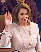 United States House Minority Leader Nancy Pelosi (Democrat of California), takes the oath of office on the floor of the US House of Representatives during the opening day session of the 115th Congress in the US Capitol in Washington, DC on Tuesday, January 3, 2017.<br /> Credit: Ron Sachs / CNP<br /> (RESTRICTION: NO New York or New Jersey Newspapers or newspapers within a 75 mile radius of New York City)
