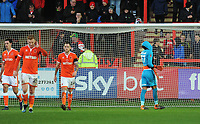 Blackpool's Christoffer Mafoumbi looks dejected after conceding<br /> <br /> Photographer Kevin Barnes/CameraSport<br /> <br /> Emirates FA Cup First Round - Exeter City v Blackpool - Saturday 10th November 2018 - St James Park - Exeter<br />  <br /> World Copyright &copy; 2018 CameraSport. All rights reserved. 43 Linden Ave. Countesthorpe. Leicester. England. LE8 5PG - Tel: +44 (0) 116 277 4147 - admin@camerasport.com - www.camerasport.com
