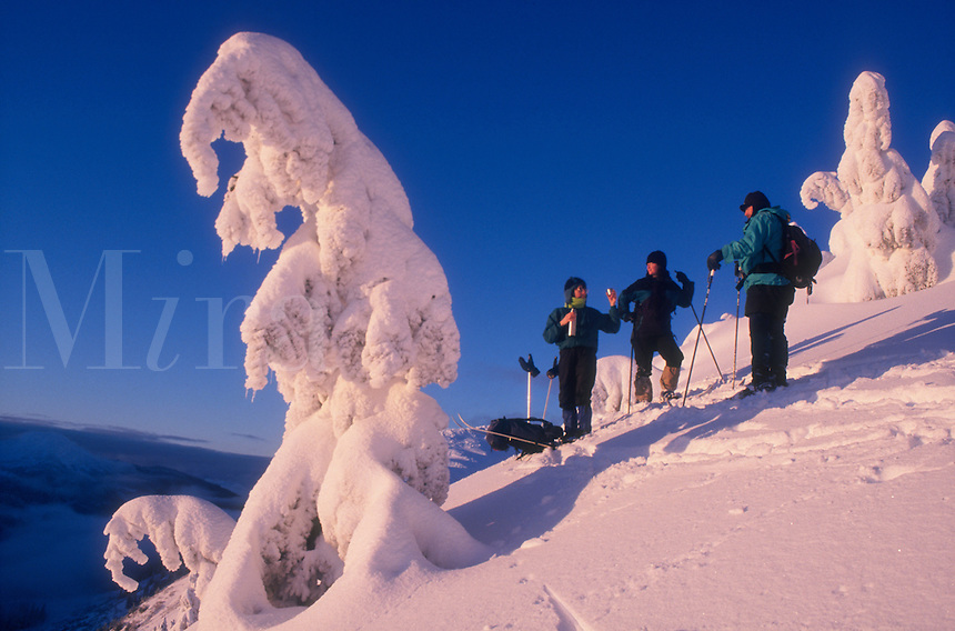 Backcountry skiers share a thermos of hot tea from a ridge on Douglas Island in southeast Alaska. M