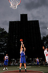 Cole Aldrich (45) shoots a free throw during the Elite 24 Hoops Classic game on September 1, 2006 held at Rucker Park in New York, New York.  The game brought together the top 24 high school basketball players in the country regardless of class or sneaker affiliation.