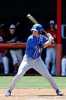 Cameron Newell #12 of the UC Santa Barbara Gauchos bats against the Cal State Northridge Matadors at Matador Field on May 12, 2013 in Northridge, California. Cal State Northridge defeated UC Santa Barbara 7-1. (Larry Goren/Four Seam Images)