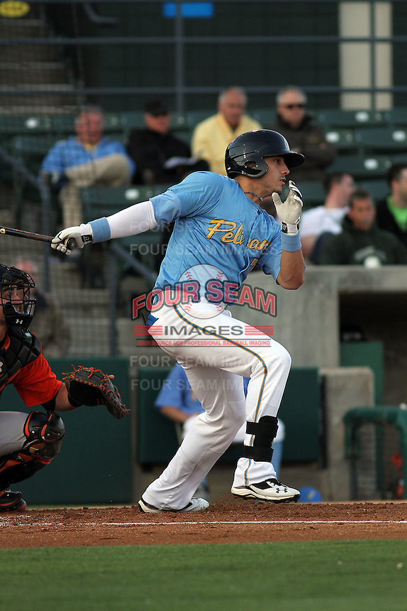 Myrtle Beach Pelicans outfielder Jake Skole #7 at bat during a game against the Frederick Keys at Tickerreturn.com Field at Pelicans Ballpark on April 24, 2012 in Myrtle Beach, South Carolina. Frederick defeated Myrtle Beach by the score of 8-3. (Robert Gurganus/Four Seam Images)